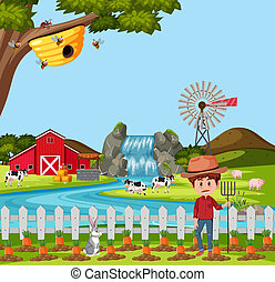 Farmer at the rural farm landscape