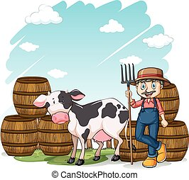 Farmer beside the cow