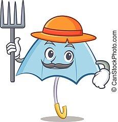 Farmer blue umbrella character cartoon