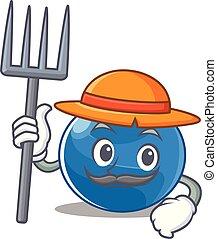 Farmer blueberry character cartoon style