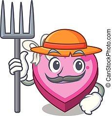 Farmer box heart in shape of mascot