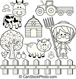 Farmer boy and animals collection. Vector black and white coloring page
