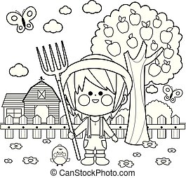 Farmer boy at the farm.  Vector black and white coloring page