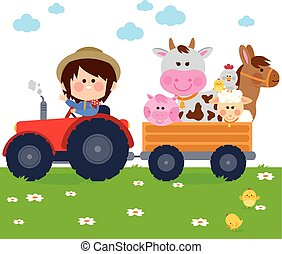 Farmer boy driving a tractor and carrying farm animals. Vector illustration