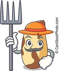 Farmer brazil nut character cartoon