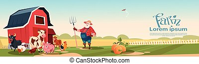 Farmer Breeding Animals Farmland Background Flat Vector Illustration