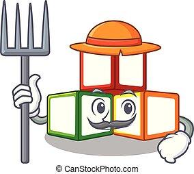 Farmer bright toy block bricks on cartoon