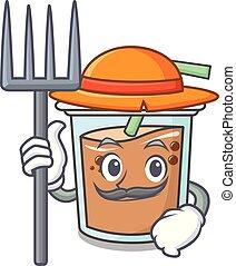 Farmer bubble tea character cartoon