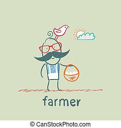 farmer carries a basket of eggs