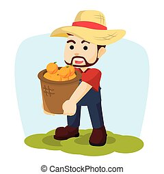 farmer carrying a basket of orange