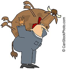Farmer carrying a cow on his back