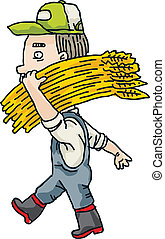 Farmer Carrying Wheat
