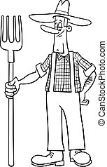 farmer cartoon coloring page