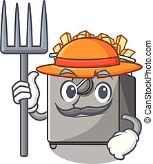 Farmer cartoon deep fryer in the kitchen vector illustration