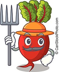 Farmer cartoon fresh harvested beetroots in wooden crate