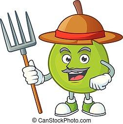 Farmer cartoon guava mascot on white background