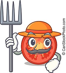 Farmer character tomato slices for food decor