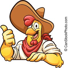 Farmer chicken - Cartoon farmer chicken with thumb up....