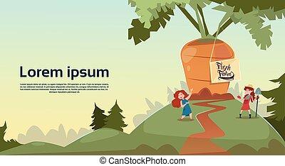 Farmer Children Giant Carrot Growing Countryside Background Eco Fresh Farming Concept