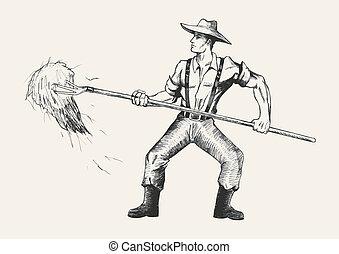 Farmer - Sketch illustration of a farmer with a pitchfork...
