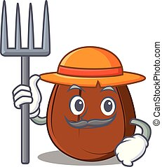 Farmer coffee bean character cartoon