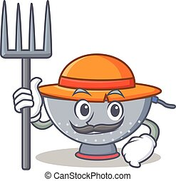 Farmer colander utensil character cartoon vector...