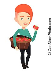 Farmer collecting tomatoes vector illustration.
