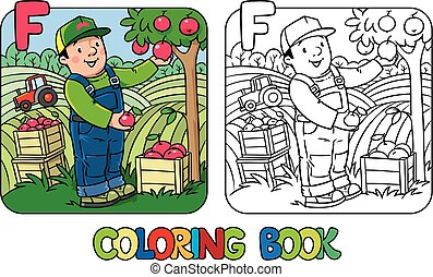 Farmer coloring book. Alphabet F. Profession ABC - Coloring...
