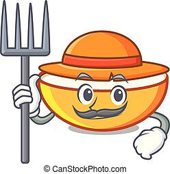 Farmer cottage cheese character cartoon vector illustration