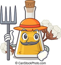 Farmer cottonseed oil in a mascot bottle vector illustration