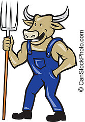 Farmer Cow Holding Pitchfork Cartoon