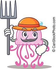 Farmer cute jellyfish character cartoon