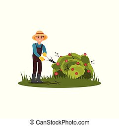 Farmer cuts dry branches on green bush with flowers. Young guy working in garden. Flat vector design