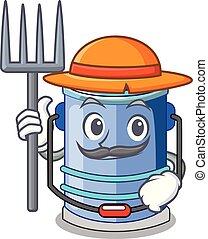 Farmer cylinder bucket Cartoon of for liquid