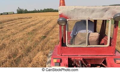 farmer drive tractor