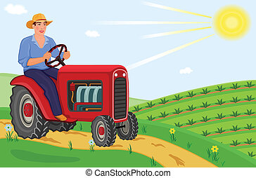 Farmer driving his tractor - Young farmer driving his ...