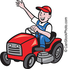illustration of a farmer gardener riding ride on mower tractor waving hello on isolated background done in cartoon style