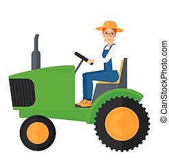 Farmer driving tractor. - A farmer driving a tractor vector...