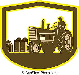 Farmer Driving Tractor Plowing Farm Shield Retro