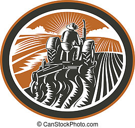 Illlustration of a farmer worker driving a vintage tractor plowing farm field set inside oval shape done in retro woodcut style on isolated background.