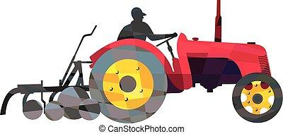 Farmer Driving Vintage Farm Tractor Low Polygon