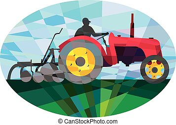 Farmer Driving Vintage Farm Tractor Oval Low Polygon