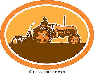 Farmer Driving Vintage Farm Tractor Oval Retro