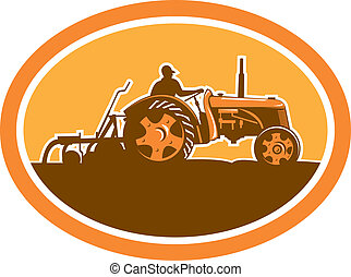 Farmer Driving Vintage Farm Tractor Oval Retro
