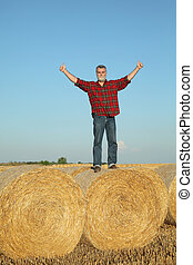 Farmer examining wheat field after harvest and gesturing