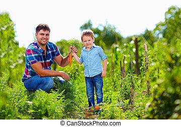farmer family harvesting vegetables in garden
