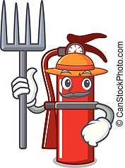 Farmer fire extinguisher character cartoon