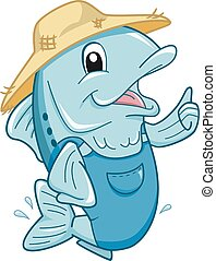 Farmer Fish Ok Mascot
