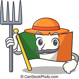 Farmer flag ireland isolated with the cartoon vector ...