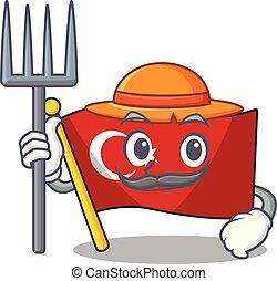 Farmer flag turkey character on shaped cartoon